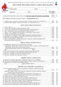 Dotazník pro dárce krve a krevních složek