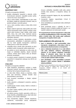 Instrukce a prohlášení před jízdou