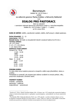 Dialog pro pastoraci, informace o kurzu