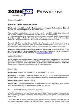 Press Release 2015 - Nadace Tomáše Bati