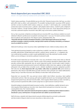 Nová doporučení pro resuscitaci ERC 2015