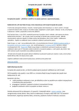 Evropský den jazyků – 26.září 2015 Další informace ke Dni