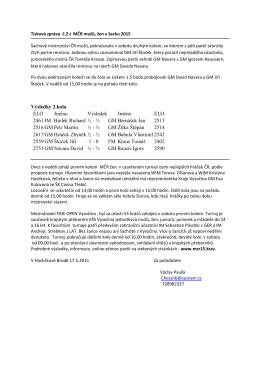Tisková zpráva č.2 z MČR mužů, žen v šachu 2015