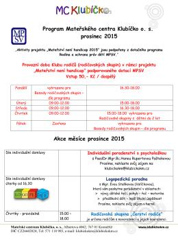Program Mateřského centra Klubíčko os prosinec 2015 Akce měsíce