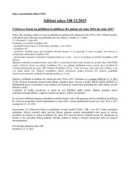 Sdělení sekce OB 12/2015