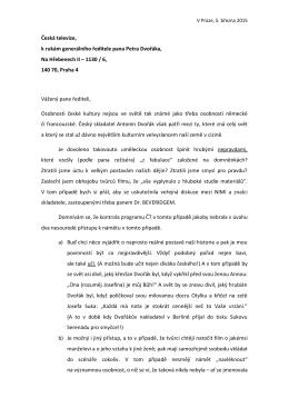 Text dopisu Prof. Elišky České televizi