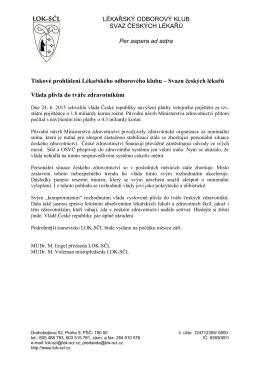 Tiskové prohlášení Lékařského odborového klubu