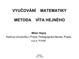 Hejného metoda výuky matematiky
