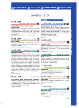 neděle 17. 5. - Svět knihy Praha 2015