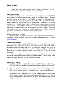 Ztráty a nálezy - Jiřetín pod Bukovou