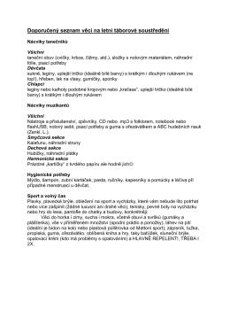Doporučený seznam věcí na letní táborové soustředění