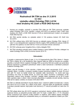 Rozhodnutí SK ČSH ze dne 31.3.2015 ve věci