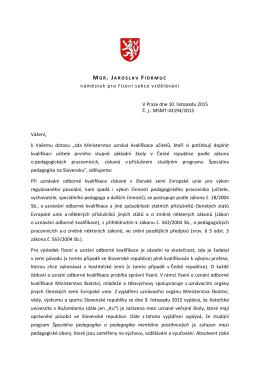 Stav věci: Poslanecký klub Strany zelených obdržel od F