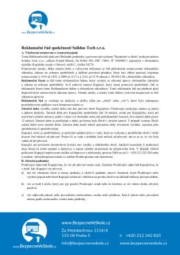 Reklamační řád společnosti Solidus Tech s.r.o.