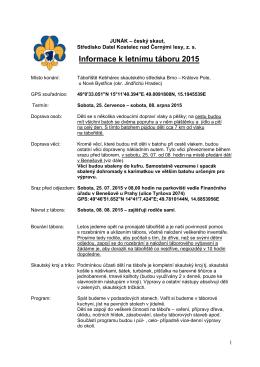 Kompletní informace pro rodice – Tábor 2015