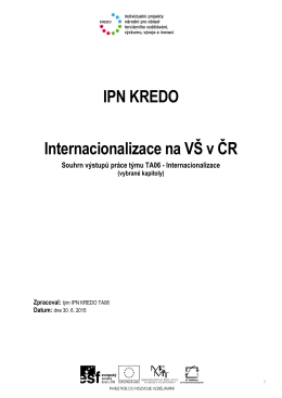 Internacionalizace na VŠ v ČR / tým IPN KREDO