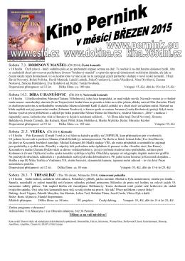 Sobota 7.3. HODINOVÝ MANŽEL (ČR 2014) Česká komedie Sobota