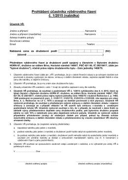 Prohlášení účastníka výběrového řízení č. 1/2015