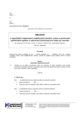 Dohoda o vypořádání společného majetku a bydlení po rozvodu
