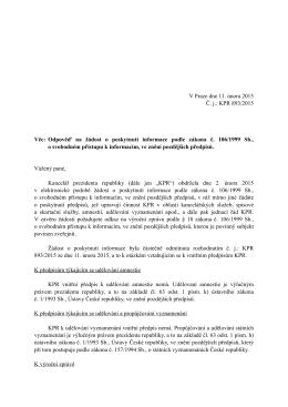 Odpověď podle zákona č. 106/1999 Sb. Č.j. KPR 893/2015