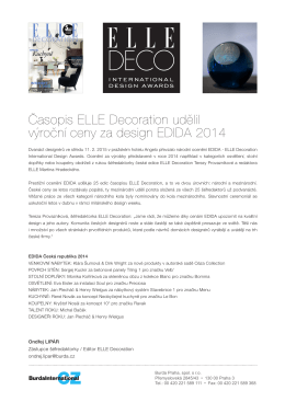 Časopis ELLE Decoration udělil výroční ceny za design EDIDA 2014