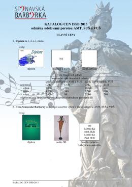 KATALOG CEN ISSB 2013 odměny udělované porotou AMT, SUŠ a