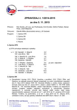 Zpravodaj č. 1 - ČSLH Žďár nad Sázavou