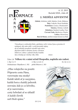 """2. neděle adventní """"Hlas volajícího na poušti: Připravte cestu Pánu"""