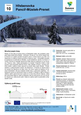 Itinerář výletu hřebenovka Pancíř – Můstek – Prenet