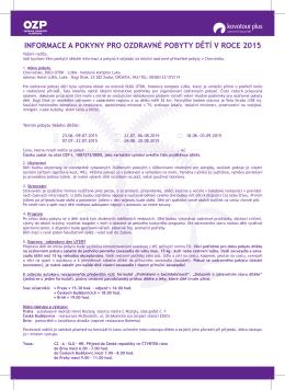 informace a pokyny pro ozdravné pobyty dětí v roce 2015
