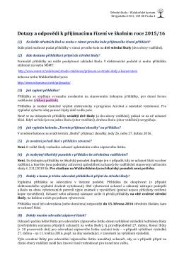 Dotazy a odpovědi k přijímacímu řízení ve školním roce 2015/16