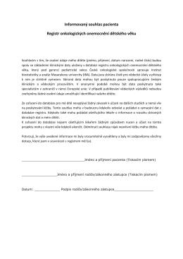 Informovaný souhlas pacienta Registr onkologických onemocnění
