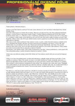 dopis generálního manažera - INFRASOL