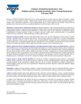 VISHAY INTERTECHNOLOGY, INC. Politika ochrany životního