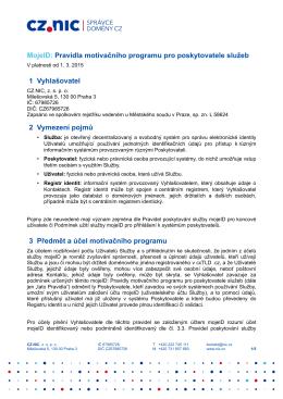 MojeID: Pravidla motivačního programu pro poskytovatele služeb 1