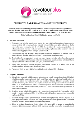 Přepravní řád autokarové dopravy v PDF