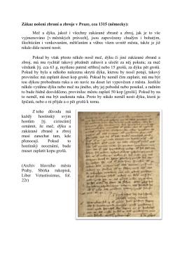 Zákaz nošení zbraní a zbroje v Praze, cca 1315 (německy): Meč a