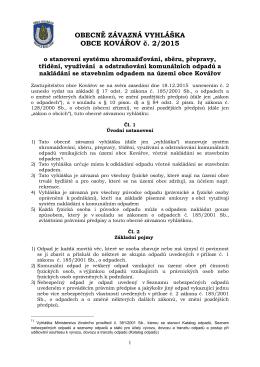 Obecně závazná vyhláška obce Kovářov č. 2/2015 o stanovení