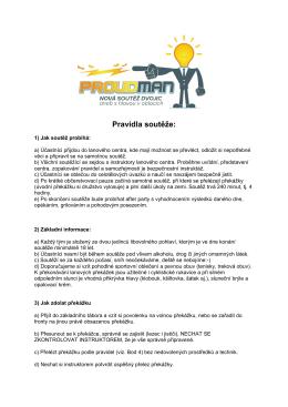 Pravidla soutěže: - Lanové centrum PROUD