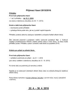 Přijímací zkoušky 2015