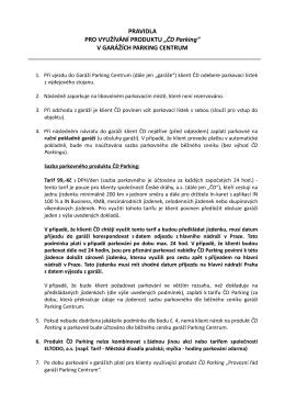 """PRAVIDLA PRO VYUŽÍVÁNÍ PRODUKTU """"ČD"""