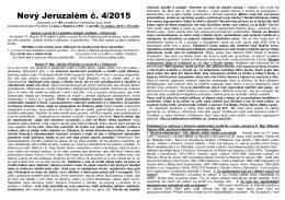 4. číslo zpravodaje NOVÝ JERUZALÉM 2015
