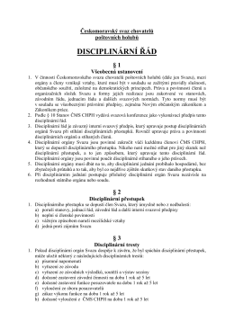 Disciplinární řád - Českomoravský svaz chovatelů poštovních holubů