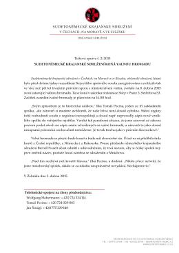 Sudetoněmecké krajanské sdružení koná valnou hromadu, 02.04