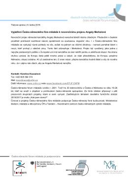 Vyjádření Česko-německého fóra mládeže k novoročnímu projevu