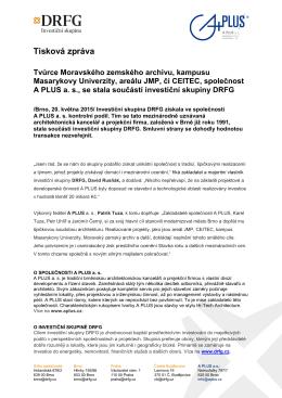 Tisková zpráva - Společnost A PLUS a.s.