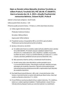 Zápis ze členské schůze Bytového družstva Toruňská