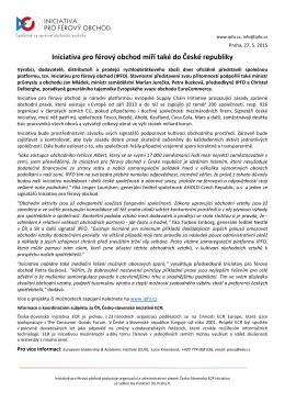 Iniciativa pro férový obchod míří také do České republiky