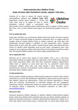 Dobrovolnická akce Ukliďme Česko bude mít letos také charitativní