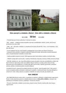 Sborník 50 let DDM Blatná - Dům dětí a mládeže Blatná
